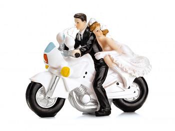 Svatební figurka Nevěsta a ženich na silniční motorce