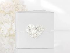 Kniha hostů bílá srdce z kvítků 60 listů