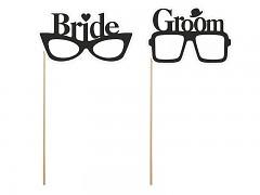 """Rekvizity na svatební focení brýle """"Bride"""" a """"Groom"""""""