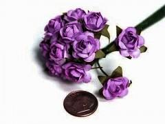 Papírové růžičky fialové 12 ks
