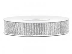Stuha brokátová stříbrná 10 mm x 25 m