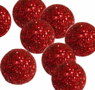 Dekorační třpytivé kuličky rudé