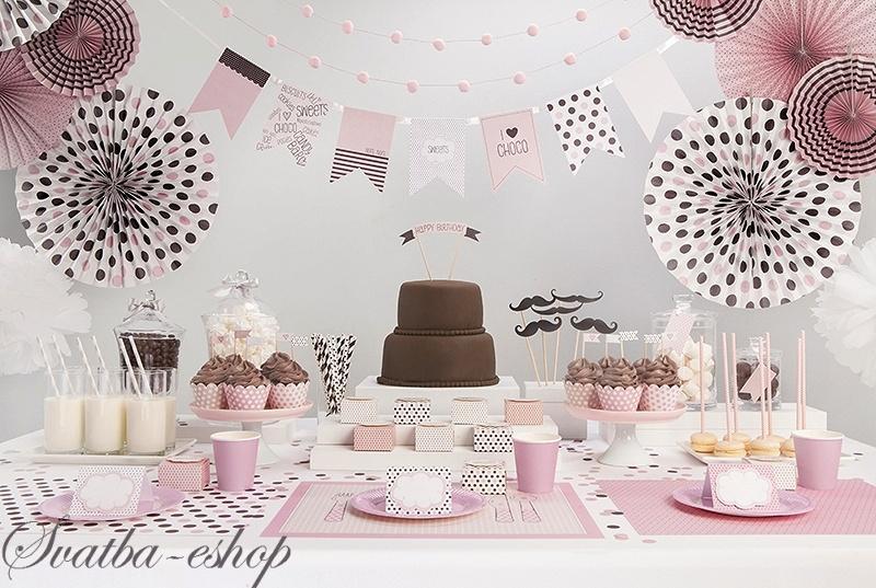 Dekoracni Rozety Sweets Kolekce Ruzova 3 Ks Svatebni Vyzdoba