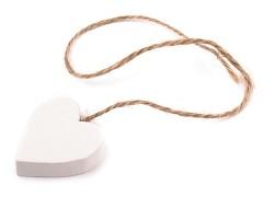 Dřevěné srdce s provázkem bílé
