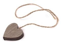 Dřevěné srdce s provázkem hnědé