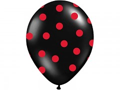 Balónek černý s červenými puntíky