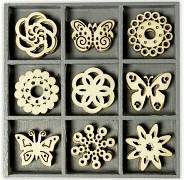 Dřevěné dekorace motýlci a rozety