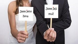 Cedulka Jsem jeho žena a Jsem její muž