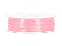 Stuha saténová světle růžová 3 mm x 50 m