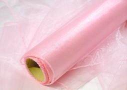 Obšitá organza 38 cm x 9 m jemně růžová