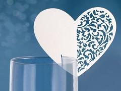 Jmenovka na skleničku vyřezávané srdce ornament bílé