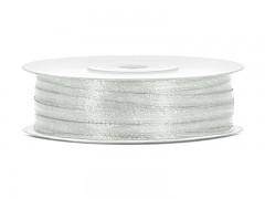 Stuha saténová stříbrná 3 mm x 50 m