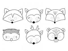 Masky zvířátka k vymalování
