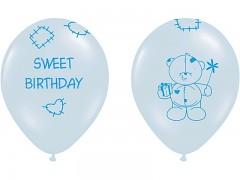 Balónek narozeninový medvídek modrý