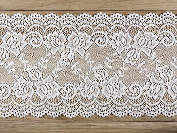 Šerpa na stůl krajka bílá 15 cm x 9 m