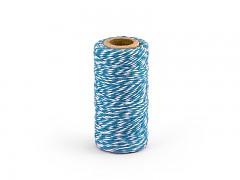 Provázek bílo tyrkysově modrý 50 m