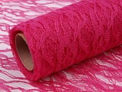 Šerpa na stůl krajka sytě růžová 50 cm x 4,5 m