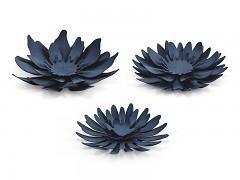 Papírová dekorace květy mix tmavě modré