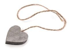 Dřevěné srdce s provázkem šedé
