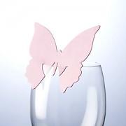 Jmenovka na skleničku motýl jemně sweet růžový