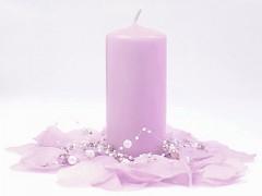 Svíčka válec světle růžovofialová 60 mm x 120 mm