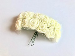 Pěnové růžičky na drátku ivory 12 ks