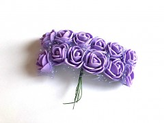 Pěnové růžičky na drátku světle fialové 12 ks