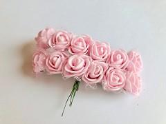 Pěnové růžičky na drátku světle růžové 12 ks