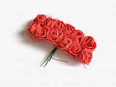 Pěnové růžičky na drátku červené 12 ks