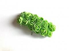 Pěnové růžičky na drátku zelené 12 ks