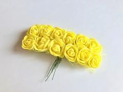 Pěnové růžičky na drátku žluté 12 ks