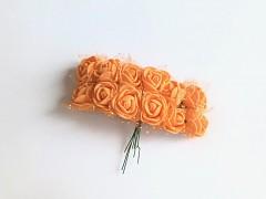 Pěnové růžičky na drátku oranžové 12 ks