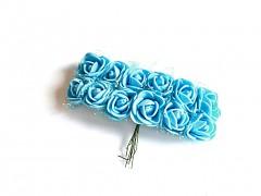 Pěnové růžičky na drátku světle tyrkysově modré 12 ks