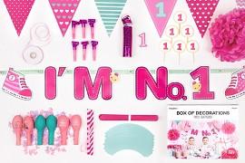 Kolekce dekorací I'm no. 1 růžovo mátová