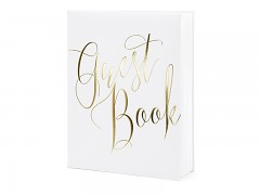 Kniha hostů bílá se zlatým nápisem Guest Book
