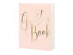 Kniha hostů sweet růžová se zlatým nápisem Guest Book