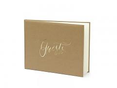 Kniha hostů přírodní se zlatým nápisem Guests