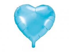 Foliový balónek srdce 45 cm tyrkysově modrý