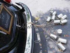 Plechovky za svatební auto stříbrné