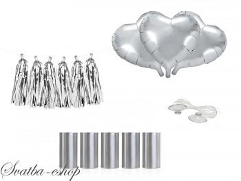 Set dekorací na auto Stříbrná srdce s plechovkami