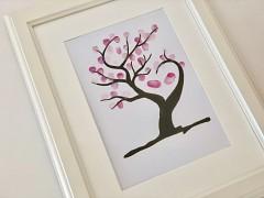 Svatební strom hnědý s větvemi do tvaru srdce A3