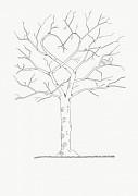 Svatební strom černobílý s ptáčky A4