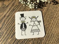 Nápojový tácek Nevěsta a ženich