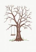 Svatební strom hnědý watercolor s houpačkou A3