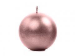 Svíčka koule růžovozlatá perleťová ø 60 mm
