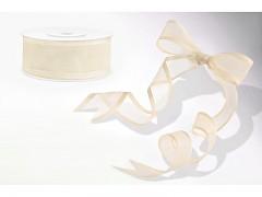 Šifónová ivory stuha s lemováním 25 mm x 25 m