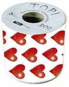 Svatební toaletní papír Červená srdíčka