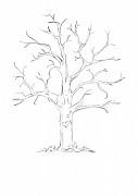Svatební strom černobílý se srdcem A4