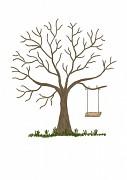 Svatební strom hnědý akryl s houpačkou A3