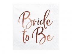 Ubrousky bílé s růžovozlatým nápisem Bride to Bee